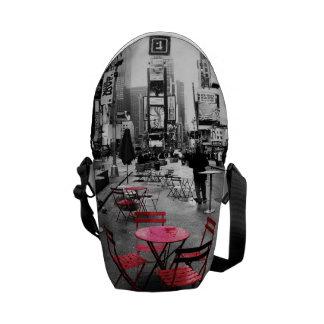 Saco vermelho branco preto do Times Square Bolsas Mensageiro