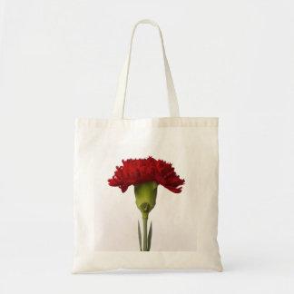 Saco vermelho da flor do cravo sacola tote budget