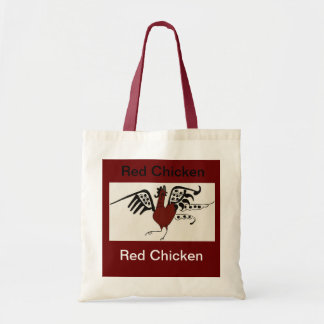 Saco vermelho da galinha sacola tote budget