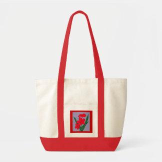 saco vermelho das flores bolsas de lona