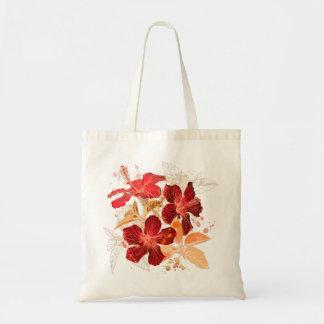 Saco vermelho das flores bolsa de lona