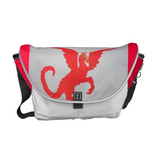 Saco vermelho do dragão bolsas mensageiro