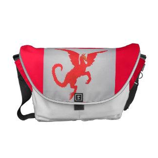 Saco vermelho do dragão bolsa mensageiro