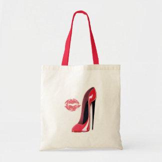 saco vermelho do estilete e do beijo sacola tote budget