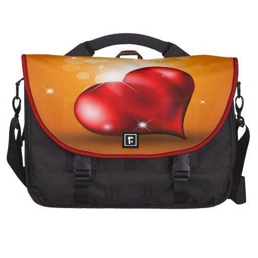 Saco vermelho do laptop do coração pastas para laptops