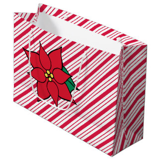 Saco vermelho do presente da poinsétia do Natal Sacola Para Presentes Grande