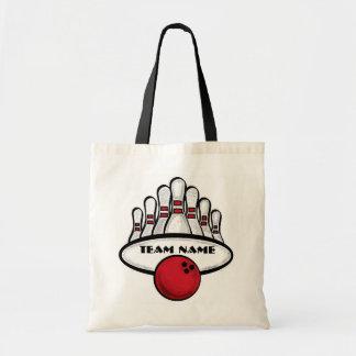 Saco vermelho do tema da equipe customizável da bo bolsas para compras