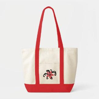 Saco vermelho e preto da flor bolsa de lona