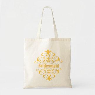 Sacola amarela feita sob encomenda do casamento da sacola tote budget