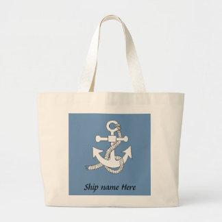 Sacola - âncora com nome do navio bolsa tote grande