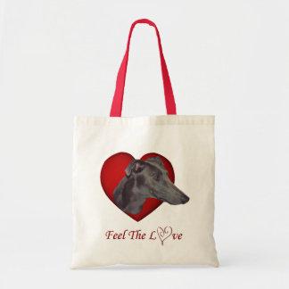 Sacola azul do cão do coração do amor do galgo sacola tote budget
