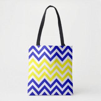 Sacola azul e amarela do teste padrão das vigas bolsas tote