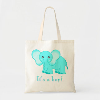 Sacola bonito do elefante do bebê azul - é um meni sacola tote budget