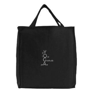 Sacola bordada da ioga bolsa de lona