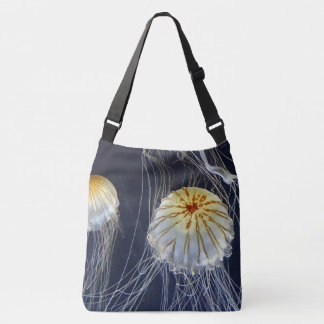 sacola branca azul do abstrato das medusa bolsa ajustável