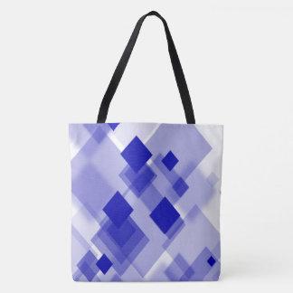Sacola branca azul do argyle abstrato bolsa tote