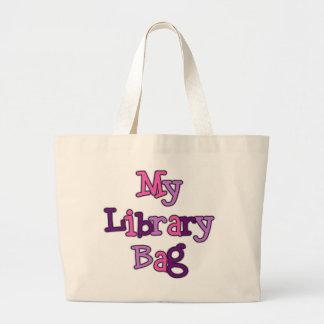 Sacola cor-de-rosa e roxa do saco da biblioteca de sacola tote jumbo