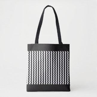 Sacola customizável do ziguezague branco irregular bolsas tote