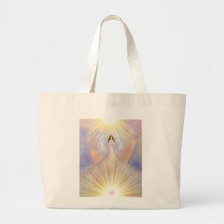 Sacola da luz do coração do anjo bolsa tote grande