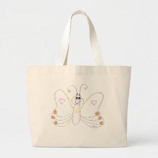 Sacola das flores dos corações da borboleta da paz sacola tote jumbo