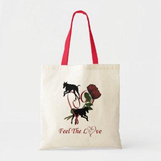 Sacola do cão do coração do amor dos rosas da silh sacola tote budget