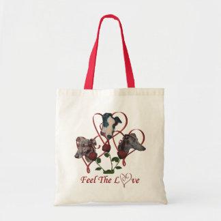 Sacola do cão dos corações do amor dos rosas do tr sacola tote budget