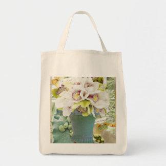 Sacola do mercado das orquídeas bolsa tote
