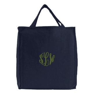 Sacola dos azuis marinhos com monograma bordado bolsas para compras