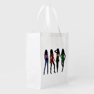 Sacola Ecológica As bolsas reusáveis na moda da silhueta das