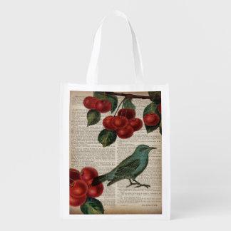 Sacola Ecológica cereja vermelha botânica retro do pássaro francês