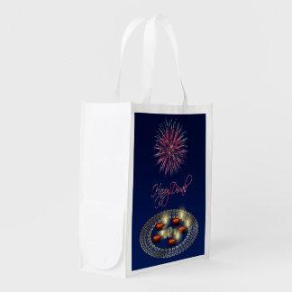 Sacola Ecológica Diwali feliz Ganesha Rangoli - saco reusável