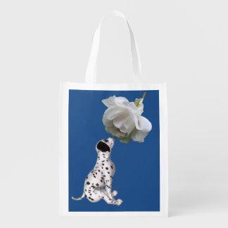 Sacola Ecológica Filhote de cachorro Dalmatian e rosa branco