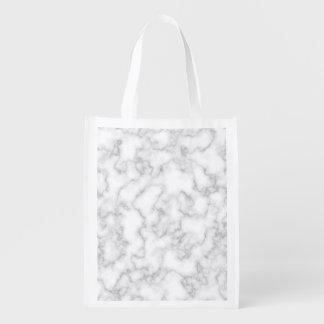 Sacola Ecológica Fundo de pedra marmoreado de mármore do branco