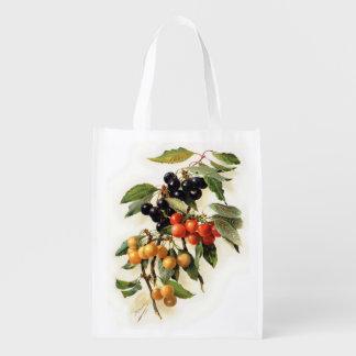 Sacola Ecológica Impressão botânico das cerejas