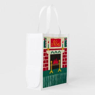 Sacola Ecológica Impressão do Crochet da lareira do tijolo do Natal