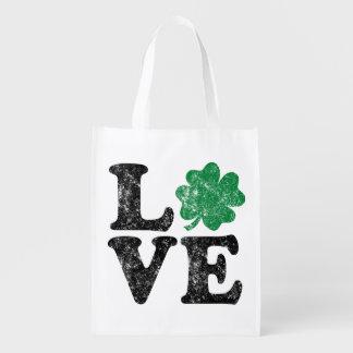 Sacola Ecológica Irlandês do trevo do AMOR do Dia de São Patrício