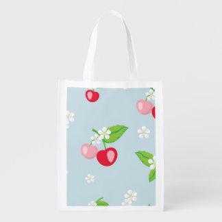 Sacola Ecológica kawai, cereja, bonito, na moda, feminino, floral,