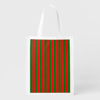 Sacola Ecológica Listras vermelhas e verdes do Natal de doces do