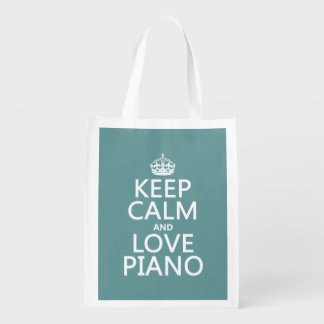 Sacola Ecológica Mantenha a calma e ame o piano (alguma cor do