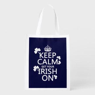 Sacola Ecológica Mantenha a calma e obtenha seu irlandês em (alguma