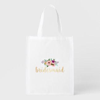 Sacola Ecológica O bolsa reusável - o bolsa floral do mercado da