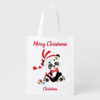 Sacola Ecológica Panda bonito do Feliz Natal