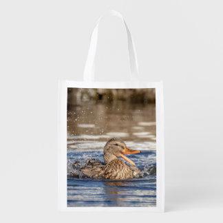 Sacola Ecológica Pato do pato selvagem no parque tragando