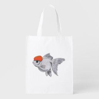 Sacola Ecológica Peixes brancos e alaranjados do animal de