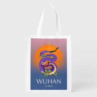 Sacola Ecológica Poster de viagens do dragão de Wuhan China