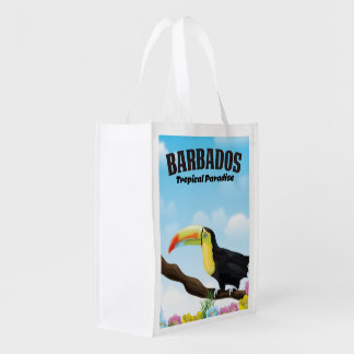 Sacola Ecológica Poster de viagens tropical do paraíso de Barbados