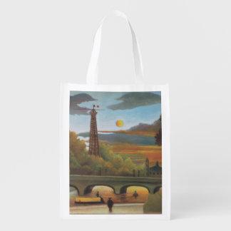 Sacola Ecológica Seine e torre Eiffel no por do sol por Henri
