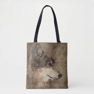Sacola feita sob encomenda com ilustração do lobo bolsa tote
