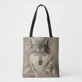 Sacola impressa com ilustração do lobo de madeira bolsa tote