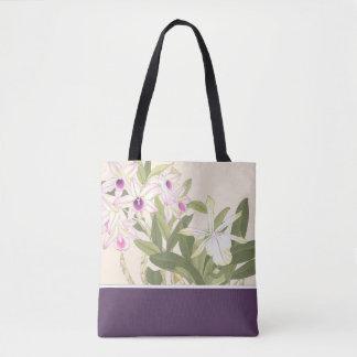 Sacola japonesa da orquídea do impressão de bloco bolsas tote